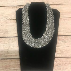 Silver Beaded Woven Necklace